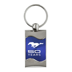 Ford Mustang 50 Years Keychain & Keyring - Blue Wave