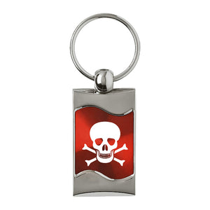 Skull Keychain & Keyring - Red Wave