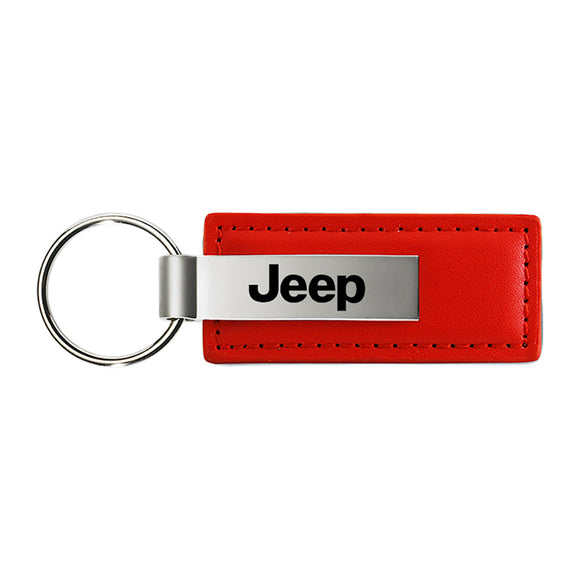 Jeep Keychain & Keyring - Red Premium Leather