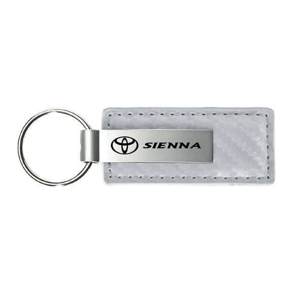 Toyota Sienna Keychain & Keyring - White Carbon Fiber Texture Leather