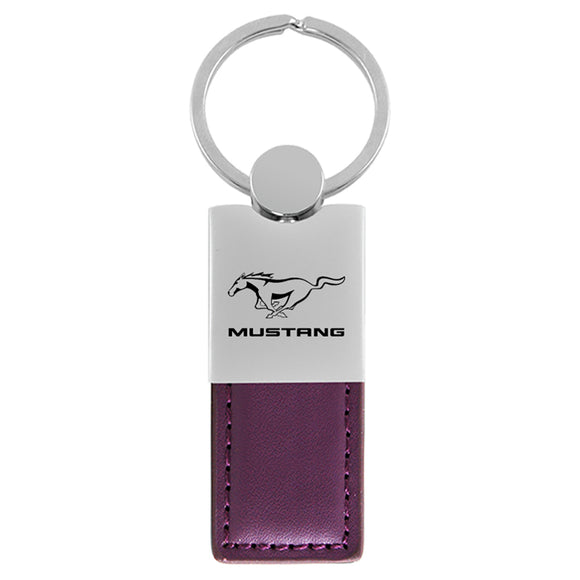 Ford Mustang Keychain & Keyring - Duo Premium Purple Leather
