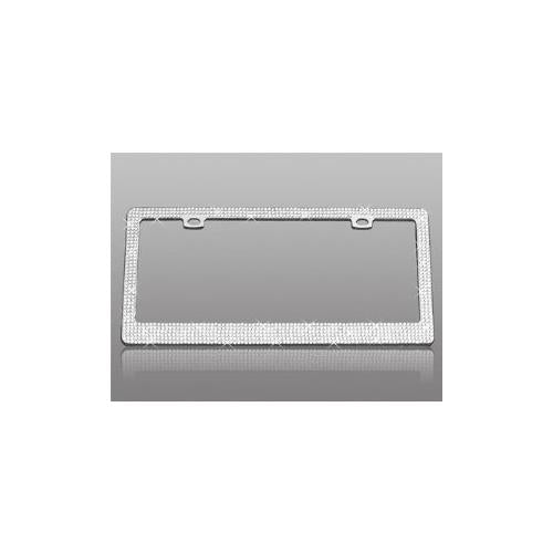 Chrome License Plate Frame with Fully Encrusted Multiple Diamonds - 2 Hole