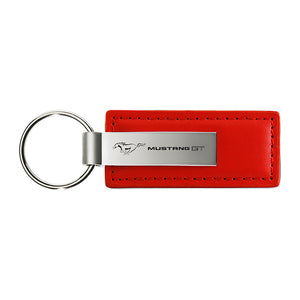 Ford Mustang GT Keychain & Keyring - Red Premium Leather