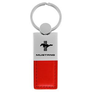 Ford Mustang Tri-Bar Keychain & Keyring - Duo Premium Red Leather