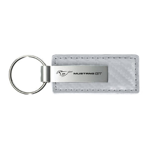 Ford Mustang GT Keychain & Keyring - White Carbon Fiber Texture Leather
