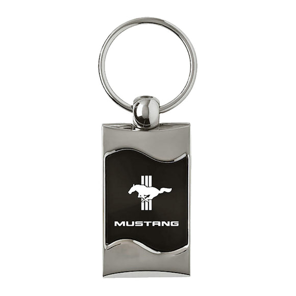 Ford Mustang Tri-Bar Keychain & Keyring - Black Wave