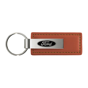 Ford Keychain & Keyring - Brown Premium Leather