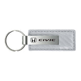 Honda Civic Keychain & Keyring - White Carbon Fiber Texture Leather