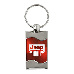 Jeep Grill Keychain & Keyring - Red Wave