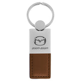 Mazda Zoom Zoom Keychain & Keyring - Duo Premium Brown Leather