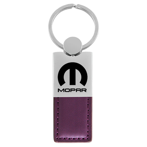 Mopar Keychain & Keyring - Duo Premium Purple Leather