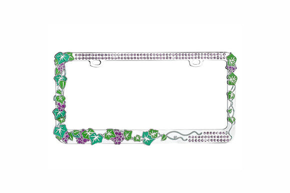 Classy Grape Vine with Green Crystals Design Metal Frame with Crystals