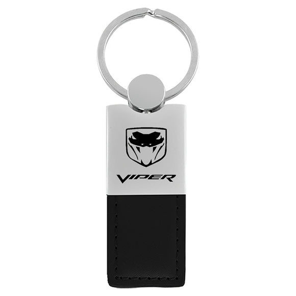 Dodge Viper Keychain & Keyring - Duo Premium Black Leather