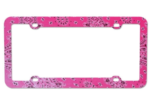 Pink License Plate Frame with Classical Flowers - 4 Hole