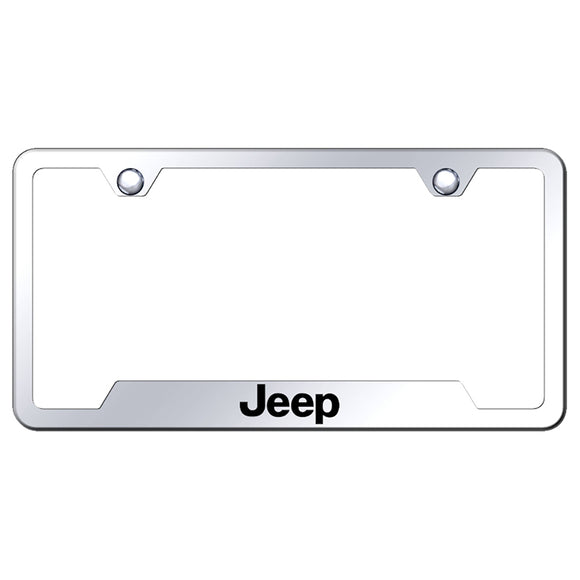 Jeep License Plate Frame - Laser Etched Cut-Out Frame - Stainless Steel
