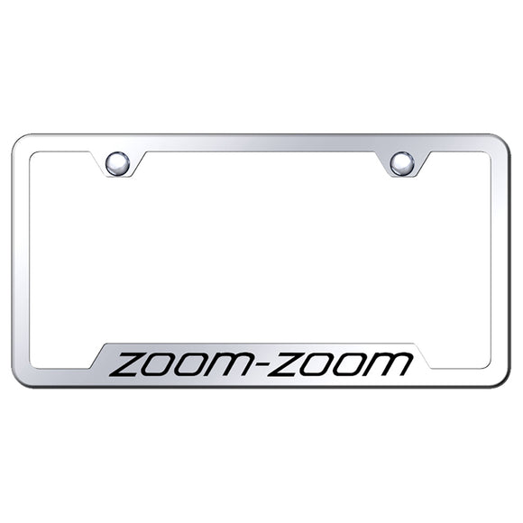 Mazda Zoom Zoom License Plate Frame - Laser Etched Cut-Out Frame - Stainless Steel