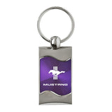 Ford Mustang Tri-Bar Keychain & Keyring - Purple Wave
