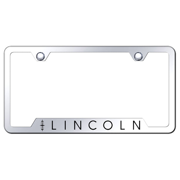 Lincoln License Plate Frame - Laser Etched Cut-Out Frame - Stainless Steel