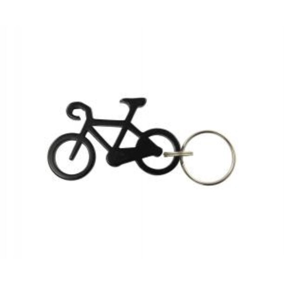 Bicycle Keychain & Keyring - Bottle Opener - Black