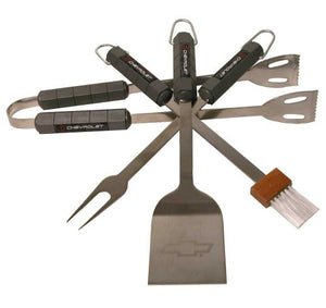 Motorhead Products Cheverolet 4-Piece BBQ Grilling Utensil Set
