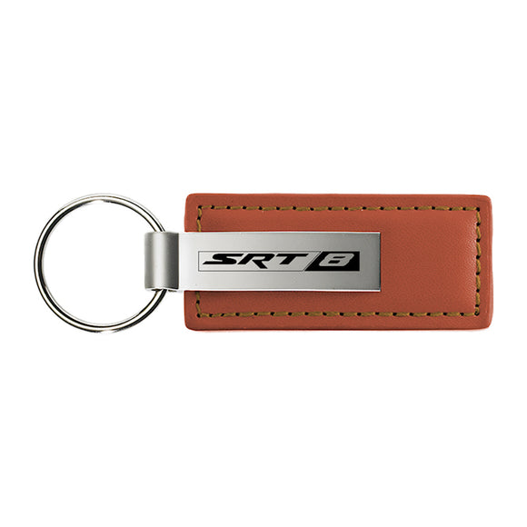 Dodge SRT-8 Keychain & Keyring - Brown Premium Leather