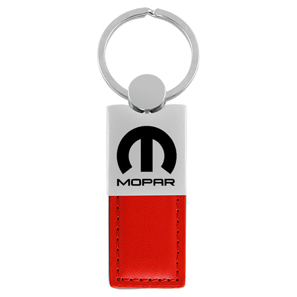 Mopar Keychain & Keyring - Duo Premium Red Leather