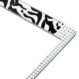Zebra Design License Plate Frames With White Crystals