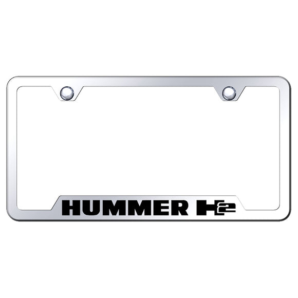 Hummer H2 License Plate Frame - Laser Etched Cut-Out Frame - Stainless Steel