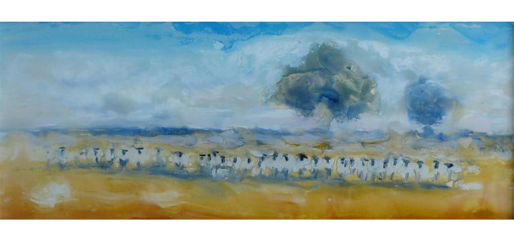 Watercolor painting of a sheep herd facing forward with an impressionistic sky and pasture