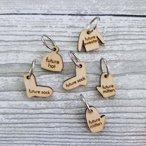 Katrinkles Wood Stitch Markers-Notions-Katrinkles-Future WIP Set Rings-The Sated Sheep