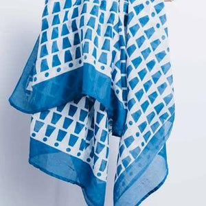Bari Blue Cotton Scarf-Notions-Bloom&Give-The Sated Sheep