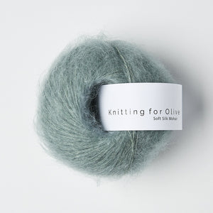 KFO Soft Silk Mohair Lace-Yarn-Knitting for Olive-Dusty Aqua-The Sated Sheep