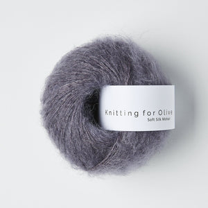 KFO Soft Silk Mohair Lace-Yarn-Knitting for Olive-Dusty Violet-The Sated Sheep