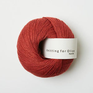 KFO Pure Silk-Yarn-Knitting for Olive-Gooseberry Red-The Sated Sheep