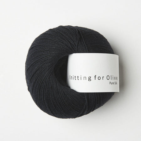KFO Pure Silk-Yarn-Knitting for Olive-Coal-The Sated Sheep