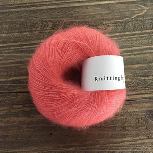 KFO Soft Silk Mohair Lace-Yarn-Knitting for Olive-Coral-The Sated Sheep