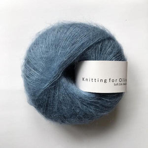 KFO Soft Silk Mohair Lace-Yarn-Knitting for Olive-Dove Blue-The Sated Sheep