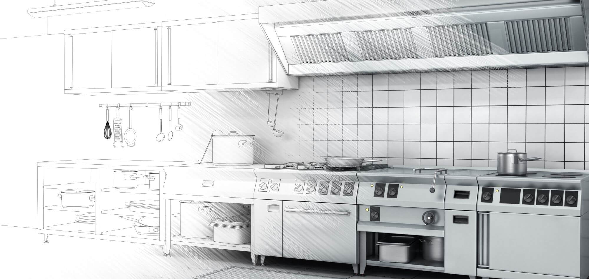 Graphic Showing Commercial Kitchen Sketch fading to Final Design