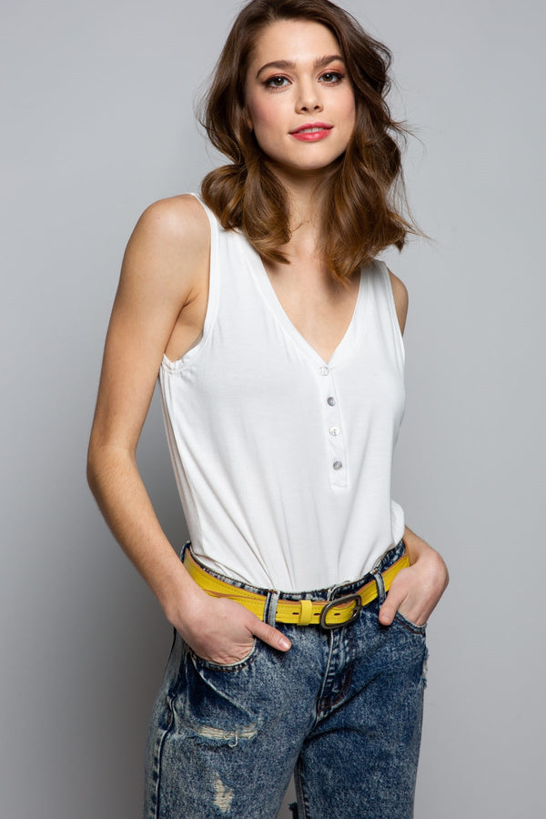 V-Neck Button Detail Ivory Tank Top