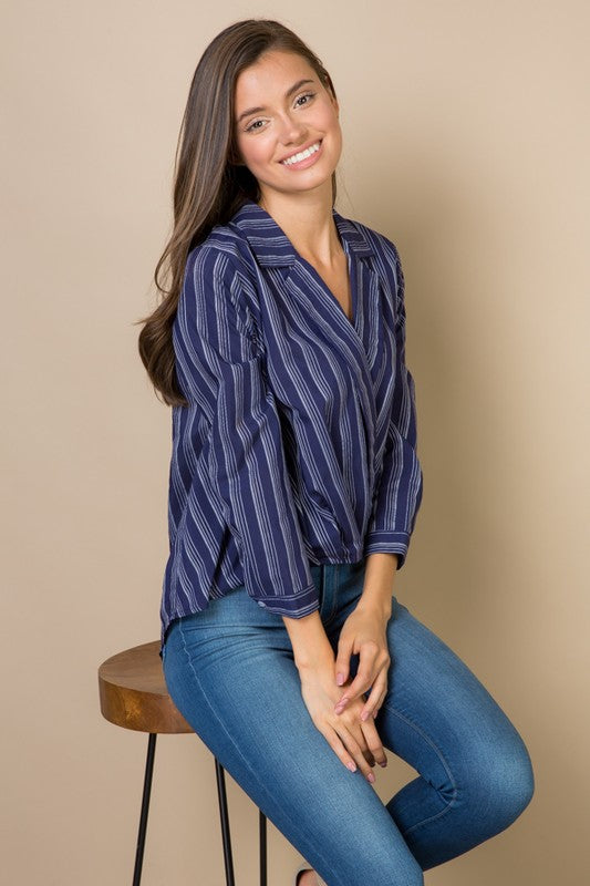 Hi-Lo Collared Navy Blouse Top-Women - Apparel - Shirts - Blouses-Honeyed Boutique