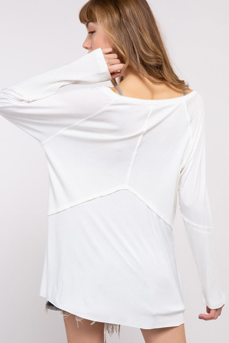 Kelly Long Sleeved Washed Top-Tops-Honeyed Boutique