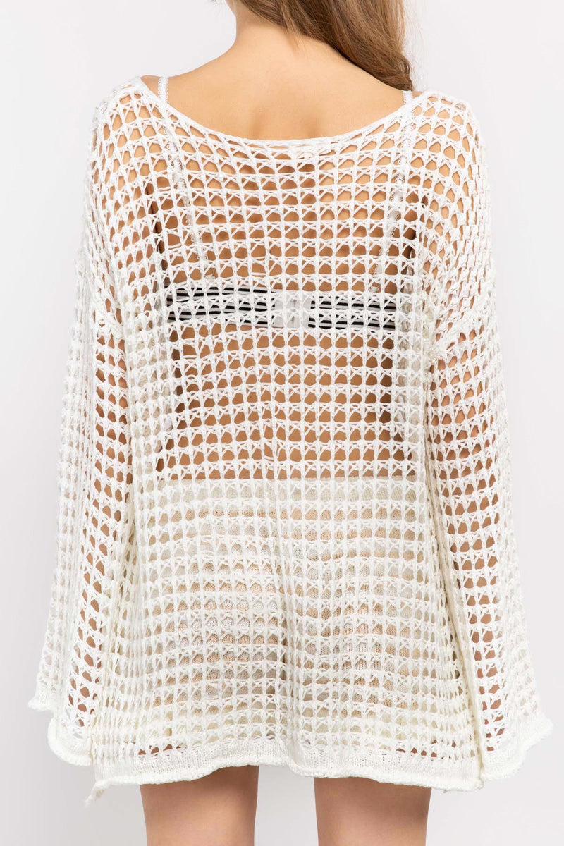 Bell Sleeve Crochet Mesh Pullover-Sweater-Honeyed Boutique