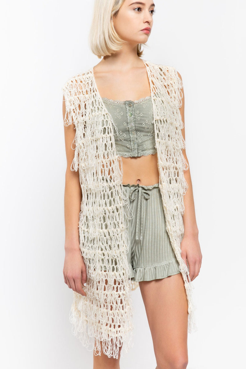 Tiffany Open Weave Tassel Vest-Honeyed Boutique
