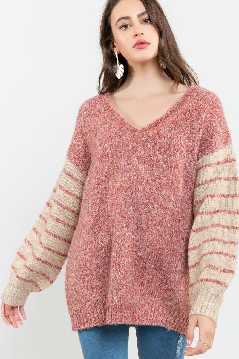 Faded Rose Contrast Sweater-Honeyed Boutique