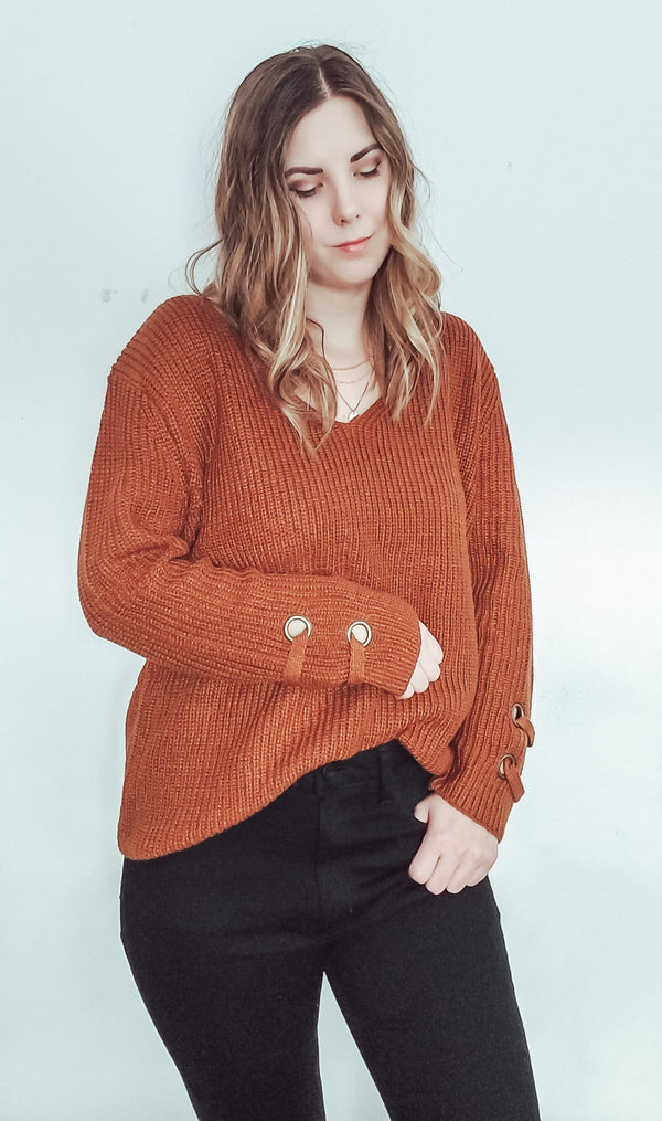Slouchy Lace Up Cuff Sweater-Sweater-Honeyed Boutique