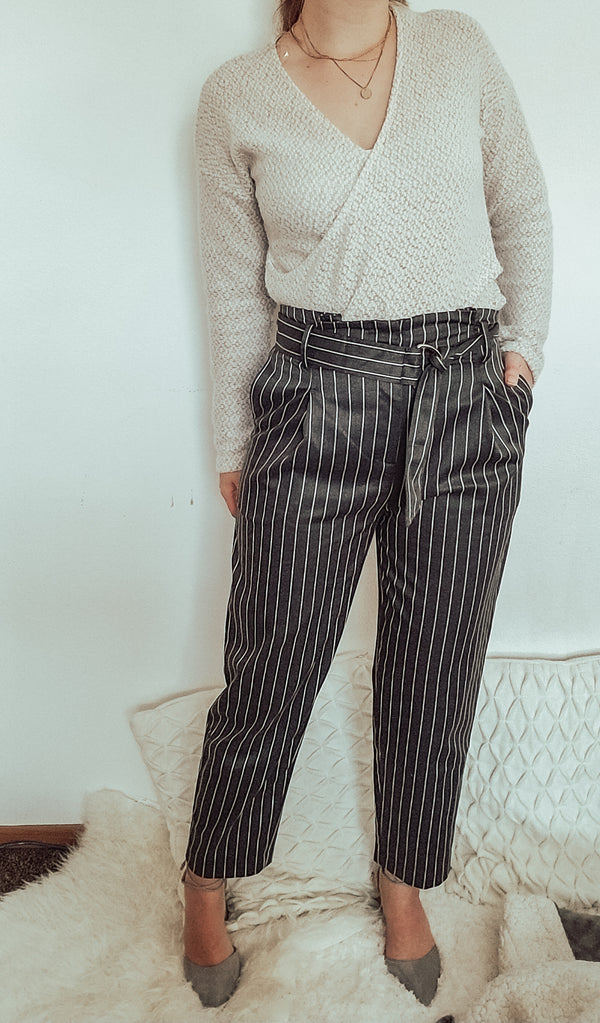 Pin Striped High Waist Gray Pants-Women - Apparel - Pants - Trousers-Honeyed Boutique