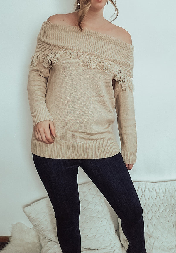 Off the Shoulder Fringe Sweater-Sweater-Honeyed Boutique