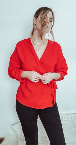 Red Shirt with Cross Tie-Women - Apparel - Shirts - Blouses-Honeyed Boutique