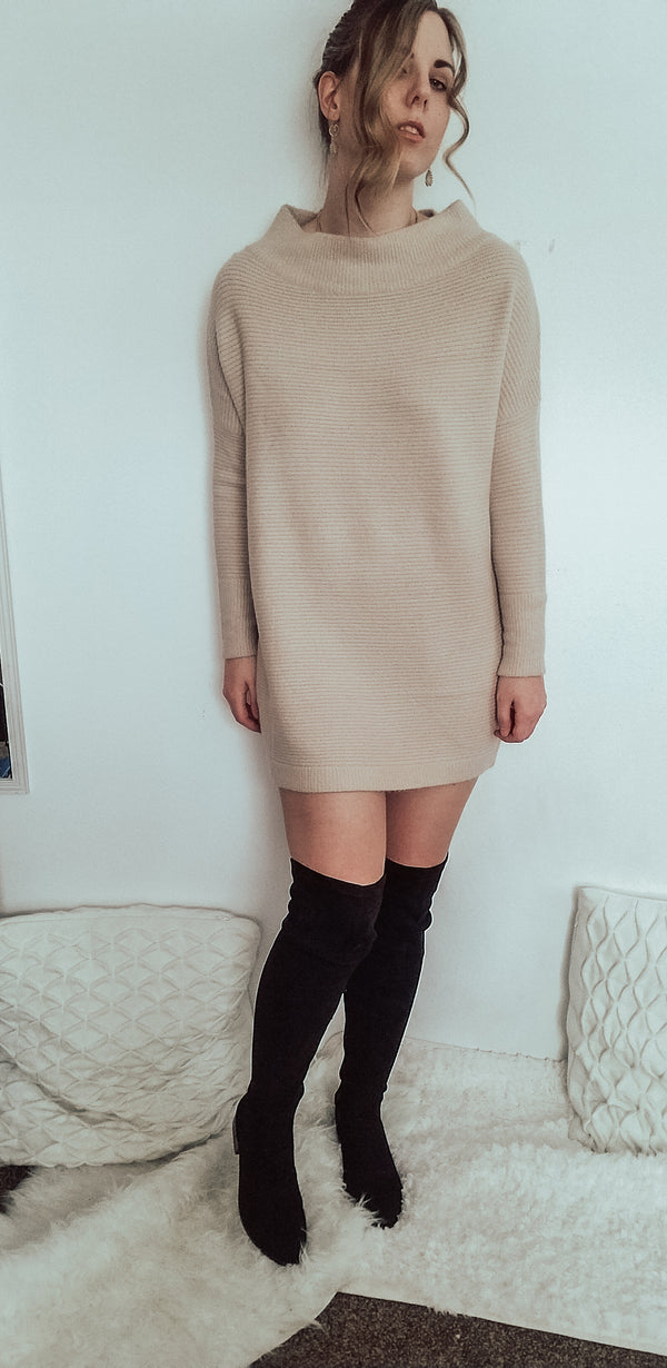 Oatmeal Pull Over Sweater or Dress-Sweater-Honeyed Boutique