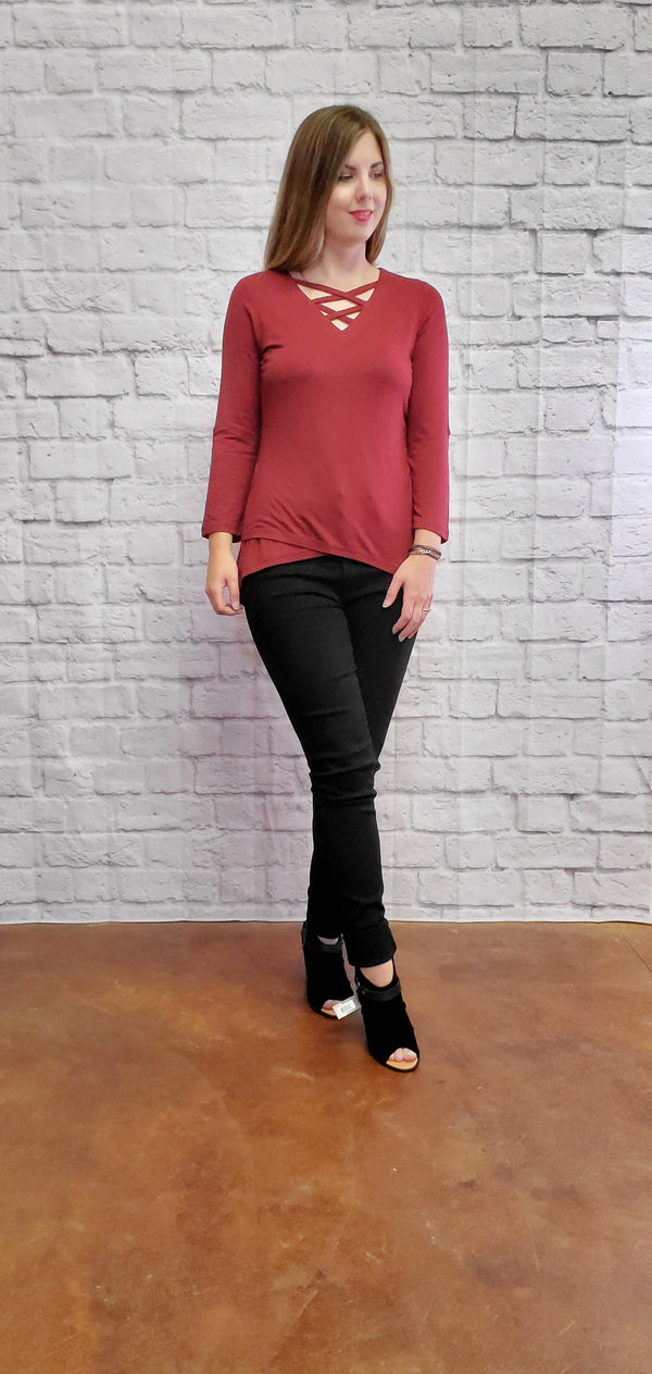 Burgundy Criss Cross Tunic
